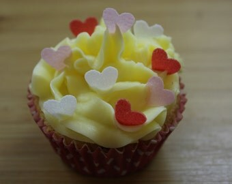 100 Small Heart Cake Toppers, Various Colours Available, Edible