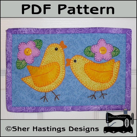 PDF Pattern For Chicks Mug Rug Easter Mug Rug By