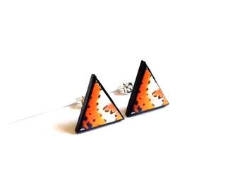 Butterfly Wing Earrings, orange butterfly wing  triangle stud earrings, butterfly jewelry, triangle studs, mothers day, tiny ear studs