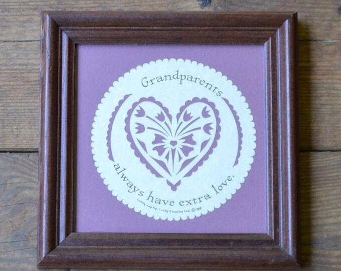 Vintage Framed Cut Paper Grandparents Handmade Pink Mauve White PanchosPorch
