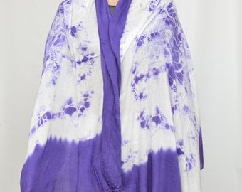 Purple white scarf shawl
