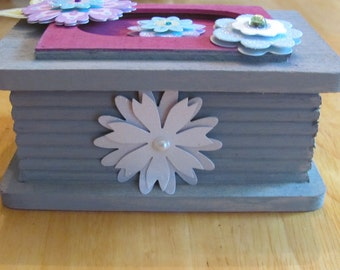 Decorated, wood jewelry box