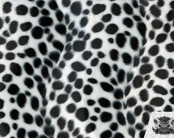 Dalmatian White and Black Velboa Animal Print Fabric Sold by the Yard