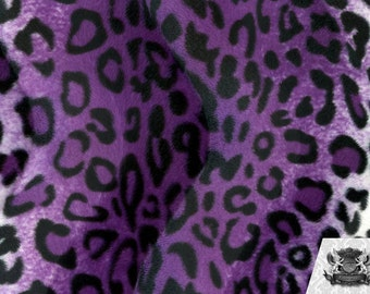 Leopard Purple Black and White Velboa Animal Print Fabric Sold by the Yard