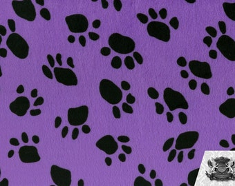 Paw Print Purple Velboa Fabric Sold by the Yard