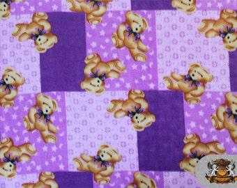 "Fleece Printed TEDDY BEAR Purple Fabric / 58"" Wide / Sold By the Yard"