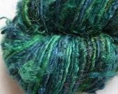 Recycled Sari Silk Yarn Hank - Green