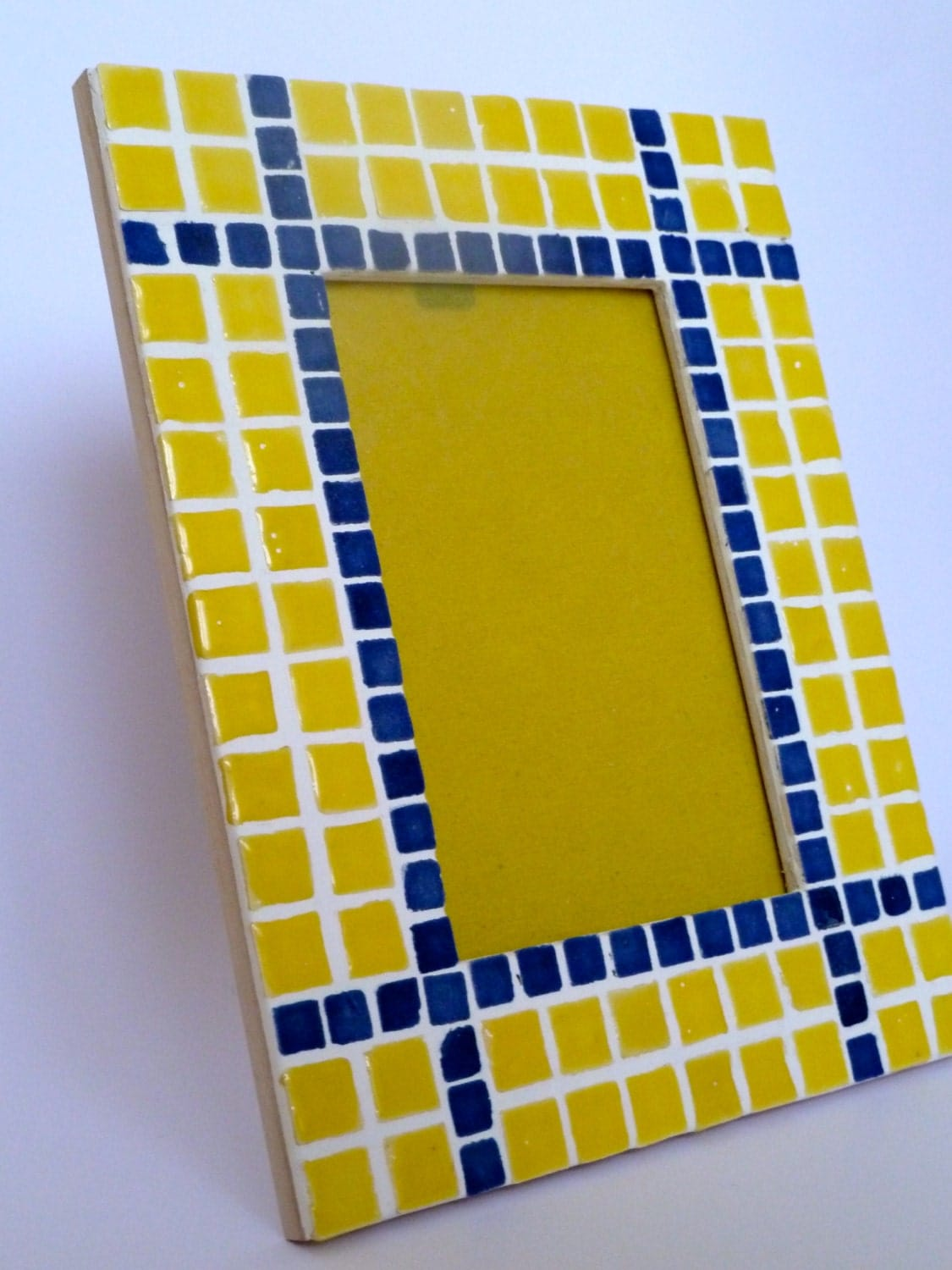 Mosaic Picture Frame Blue And Yellow Ceramic By
