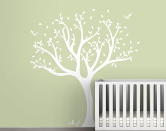 White Tree Decal Tweet Tree Wall Decal by LittleLion Studio