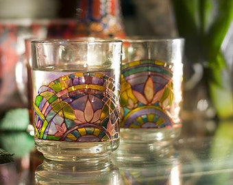 """Hand Painted glass, mug for tea/water,  """"Lotus melody"""", perfect gift idea,  made per order"""