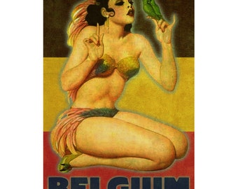 BELGIUM 1P- Handmade Leather Postcard / Notecard / Magnet - Travel Art