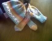Girls Hand knitted hat.mittens and scarf set.kids hat.kids gloves-kids scarf-childrens winter accessories- 18months upwards.