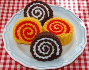 Knitting Pattern for Chocolate / Swiss Rolls / Cakes - Knitted Play Food, Toy Food