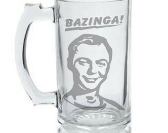 Big Bang Theory Sheldon Mug, Bazinga Mug, Sheldon Cooper Mug, Personalized DEEP Etched Mug