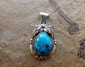 Turquoise Pendant Sterling Silver Handmade, P009