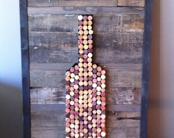 Wine Cork Art - repurposed wood wall art