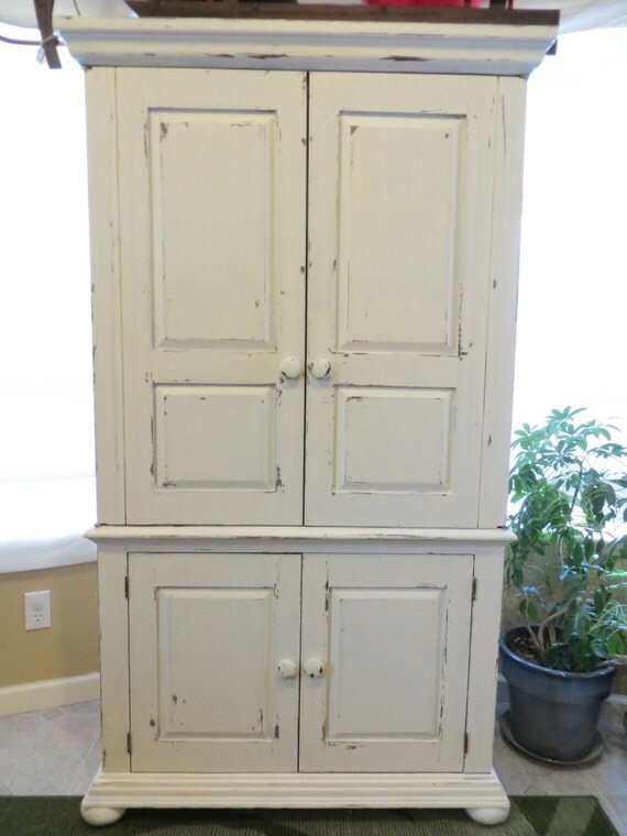 White distressed storage armoire. SOLD by FlipitDesigns on ...
