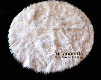 Faux Fur Round Rug / Plush Shag Area Carpet / Accent Throw Rug / All New Sizes and Colors