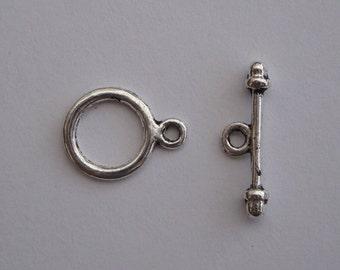Antique silver toggle clasp small plain 20 sets TS011