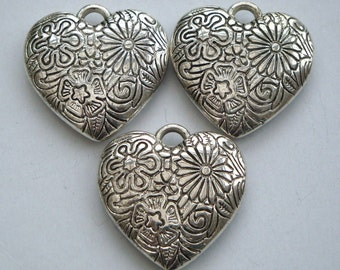 Silver heart charms, antique silver pack of 3, 34mm big puffed heart CS002