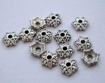 Silver bead caps 8mm flower design x 50 BCS005 bead caps beadcaps