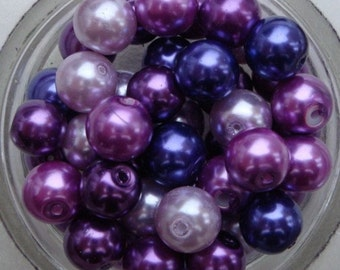 8mm glass pearls purple lilac mauve mix round beads pack of 50 GBP017