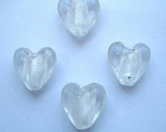 15mm foil glass hearts clear x 4 FBH018