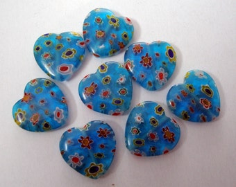 16mm millefiori glass heart beads turquoise pack of 8 MBH006