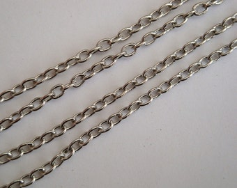 Antique silver chain, 1m, links 3.5 x 2.5mm necklace cable chain 1 metre