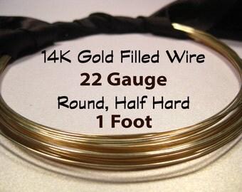 15% Off SALE!! 14K Gold Filled Wire, 22 Gauge, 1 Foot WHOLESALE, Round, Half Hard