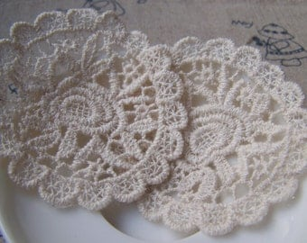 Beige Crochet Lace Doily Round Flower Lace Cotton Embroidery 60mm Set of 10 A3492