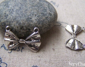 Silver Bow Tie Connector Retro Charms 15x22mm A2926