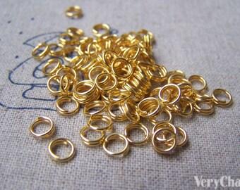 500 pcs of Gold Tone Split Rings 5mm A3304