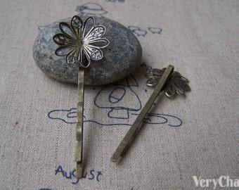 10 pcs Antique Bronze Bobby Pin with 19mm Flower Bezel Hair Clips Barrette 2x55mm A2015