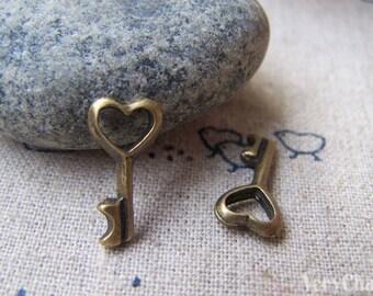 Heart Key Charms Antique Bronze 7x15mm Set of 20 pcs  A181