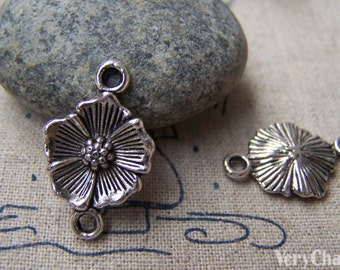 20 pcs of Antique Silver Flower Connector Charms 15x25mm A1128
