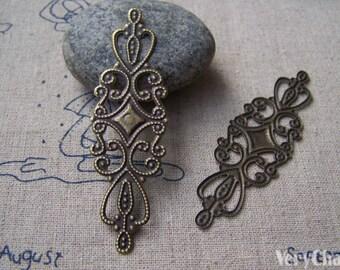 20 pcs of Antique Bronze Filigree Flower Embellishments  20x65mm A2665