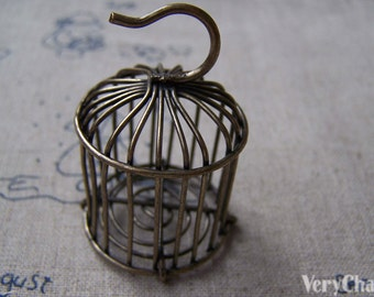 SALE Huge Wire Bird Cage Pendant Antique Bronze Charms 27x46mm Set of 1 pc A159