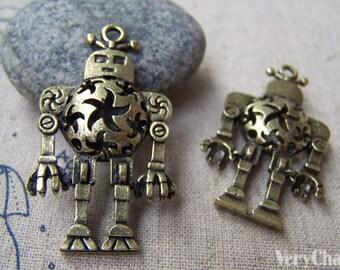 5 pcs of Antique Bronze Filigree 3D Robot Charms Pendants 8x24x43mm A3017