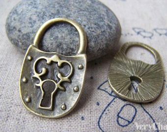 10 pcs of Antique Bronze Lovely Lock Charms 20x32mm A2437