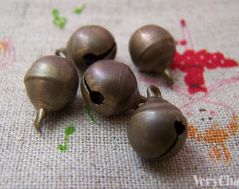 10 pcs of Antique Bronze Bells Charms 10mm A3852