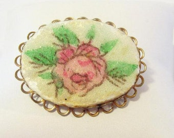 Vintage jewelry ROSE Flower brooch