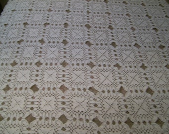 Vintage Handmade Crocheted Tablecloth or Bed Cover
