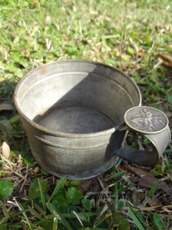 Civil War Era Cavalry Soldier's Tin Cup - 1800s Victorian - Awesome, Authentic Antique