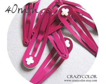 20 pcs Bright Hot Pink  Hair Snap Clip With Flat Pad 40mm (1.6 Inch) 40P08