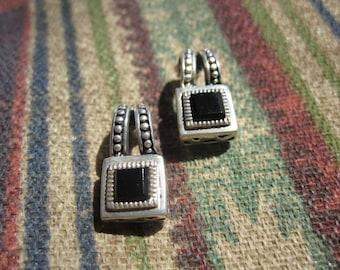 Black Onyx and Sterling Earrings