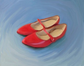 Red Mary Jane Shoes - Giclee Print of a digital painting by Anita Drieseberg