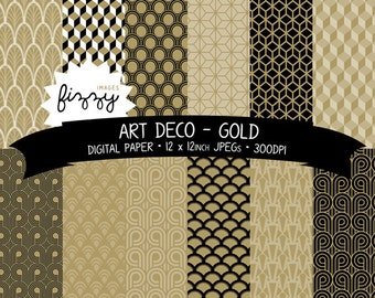 JPEG: 12 x  Art Deco Great Gatsby 1920s 1930s Gold Patterned Digital Paper Clipart  with Instant Download. MPS0021