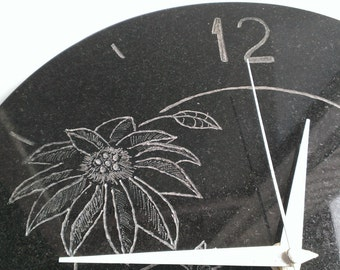 Natural stone wall clock flower