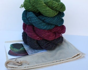 Spinning Yarns Weaving Tales -  Linen Stitch Cowl Knitting Kit - 'Precious Jewels'